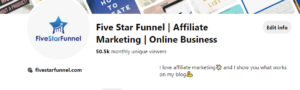 Affiliate marketing on pinterest example