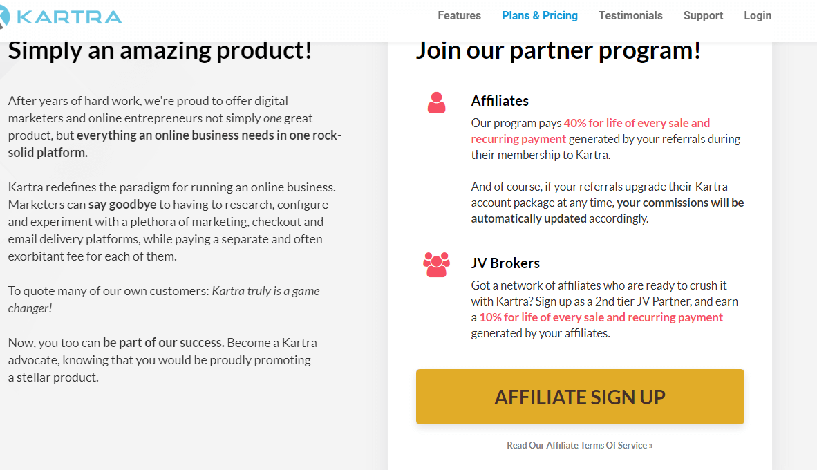 Kartra Affiliate Program signup page