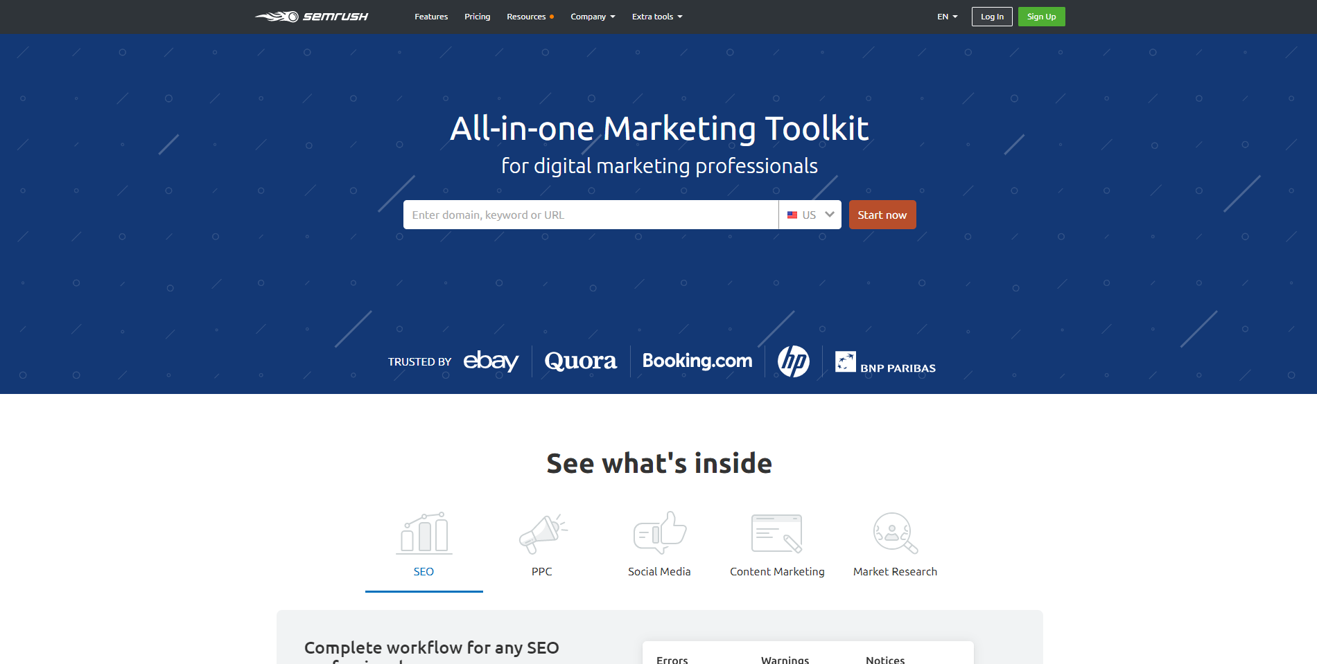 SEMrush all in one seo tool